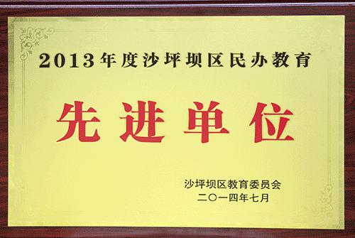 2013沙坪坝区民办先进单位