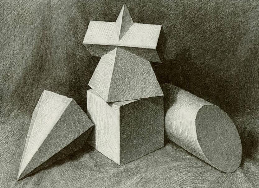 素描教程—画好组合几何体素描的技巧与方法