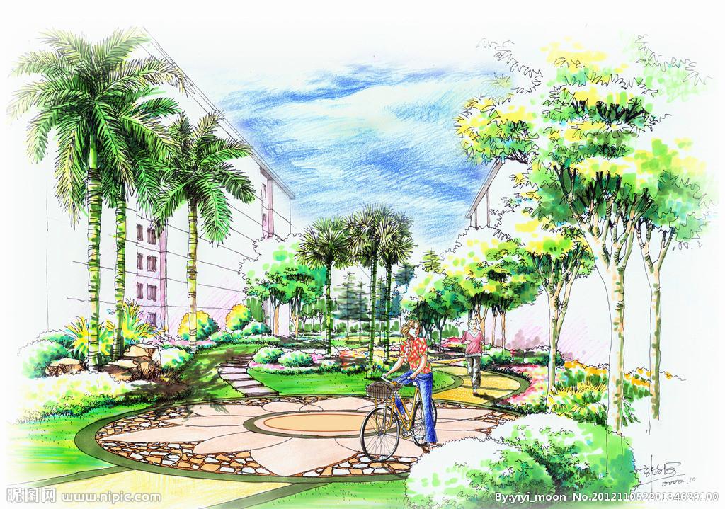 校园园林手绘效果图