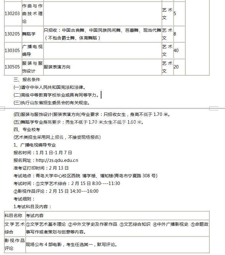 青岛大学2017年省内艺术类专业招生简章
