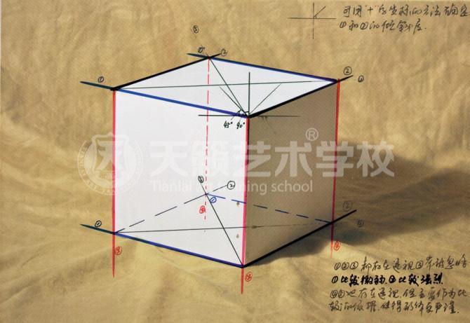 素描几何体正方体画法步骤讲解