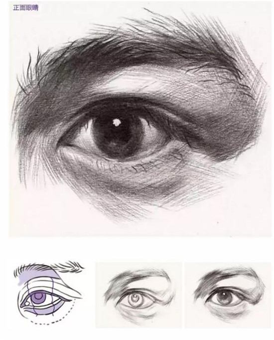 头像五官中最主要的就属眼睛了,今天就给大家安利一波眼睛的画法。 眼睛怎么画? 眼睛是最能打动人的器官,我们通常说的神态就是指眼神的变化,只要把眼睛处理好就能把人物的神态画得生动很多。 要想画好眼睛首先要理解眼睛的结构。   正面眼睛怎么画  尽管对象眉毛的固有色是黑的,但是它受到眉弓形体的影响,正好长在眉弓的背光和受光面上,所以这种由于形体的转折所产生的深浅变化要表现出来。 受眉弓形体的影响, 眉弓底面是一个往里转的暗面, 运用 重掐上、中间透气、轻掐下的处理手法。 此外,眉头部位的眉毛是往斜上方生长