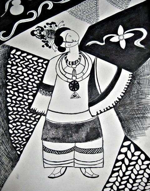 贵州黑白装饰画