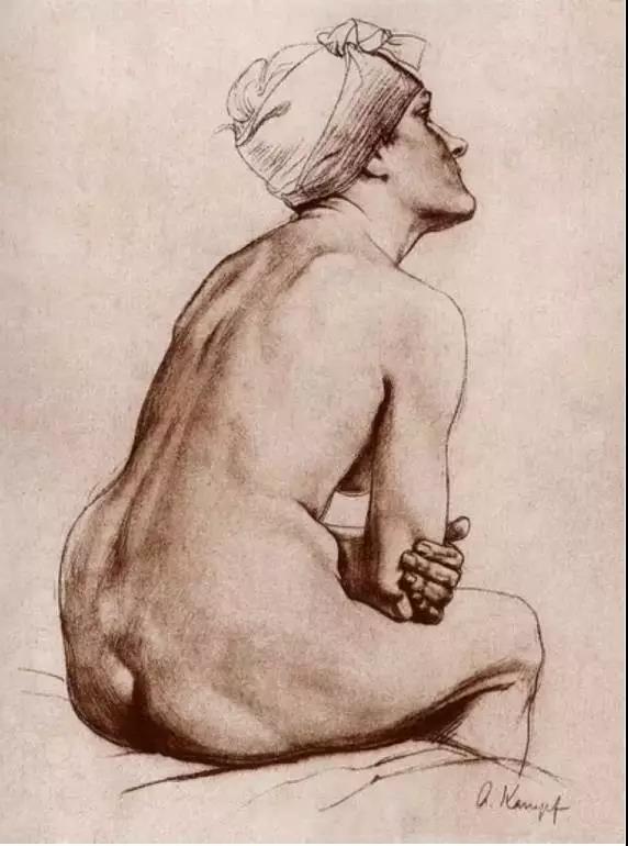 --- 康勃夫 --- 他的素描在1912年被德国美术史收录进11卷册《素描大师》一书,该书以德国最先进的珂罗版印刷技术,展现了20世纪初活跃于德国画坛的10位著名画家的素描作品。我国画家徐悲鸿曾受教于康勃夫门下,并购买过他的许多重要素描作品与油画作品《包厢》等,现收藏于北京徐悲鸿纪念馆。 素描系统分为三个部分 基础训练(明暗训练、切面训练和造型训练) 应用训练(临摹大师作品和常规写生) 自我表现训练(传统+理性+感性<客观模仿>)  前两个部分要尽量少从审美的角度去表现对象, 多从对象真实的