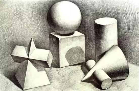 学习素描一般是从几何图形开始,从结构几何,石膏,静物素描,头像