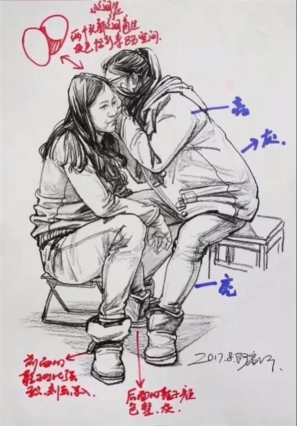 手绘素描女生腿