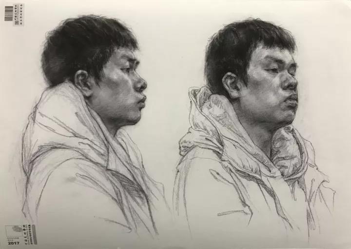 2017中国美术学院素描头像高分卷