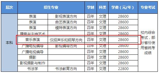 2018年北京城市学院音乐类招生专业