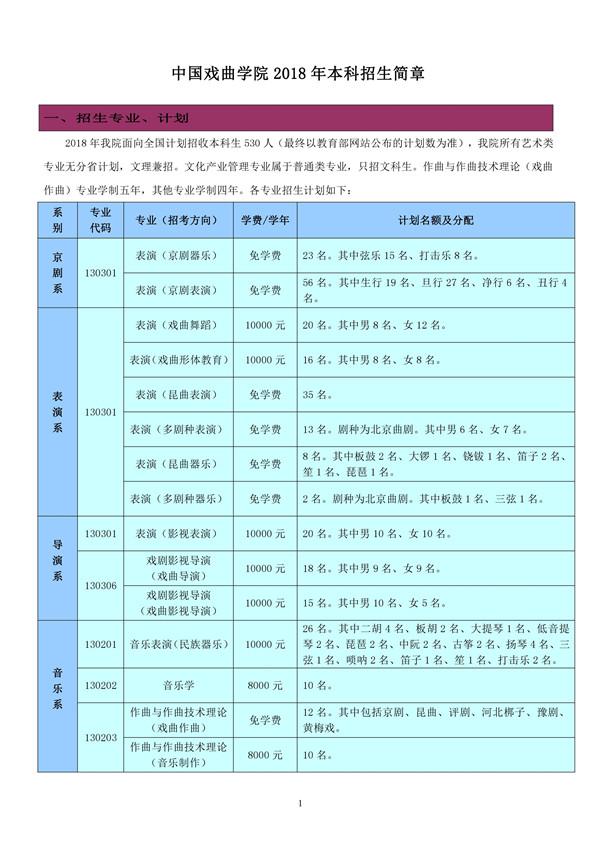 中国戏曲学院2018年本科招生简章