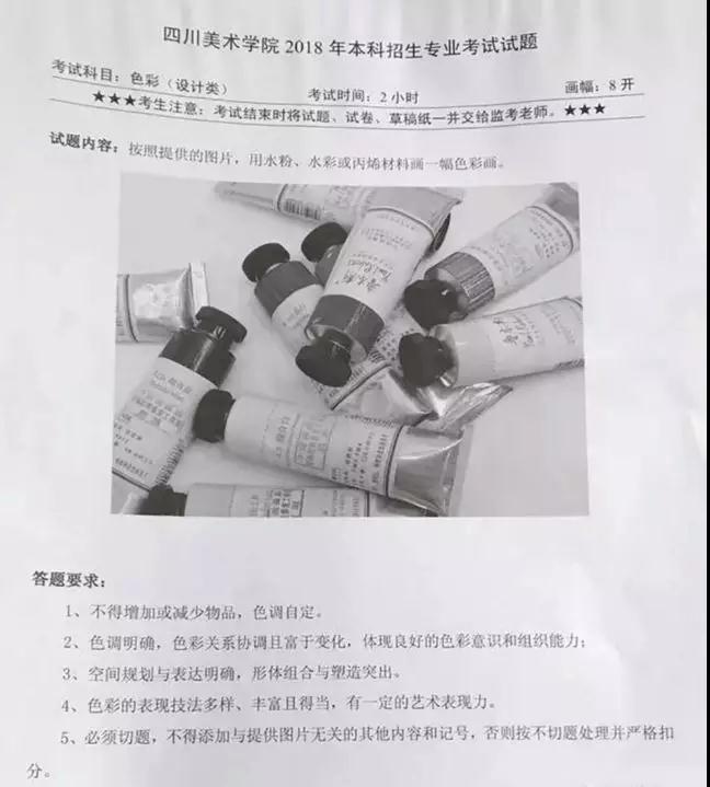 2018年四川美术学院校考考题(贵州考点)图片
