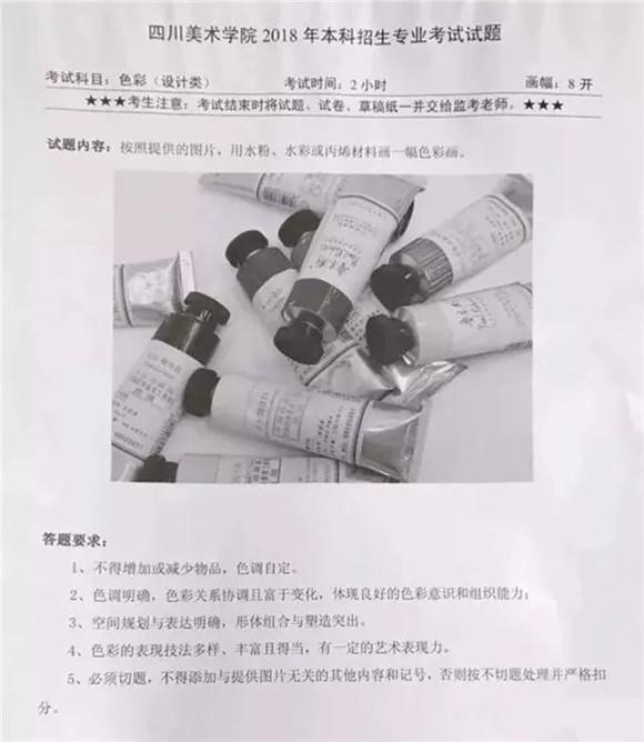 四川美术学院2018设计类考题(重庆,贵州考点)图片