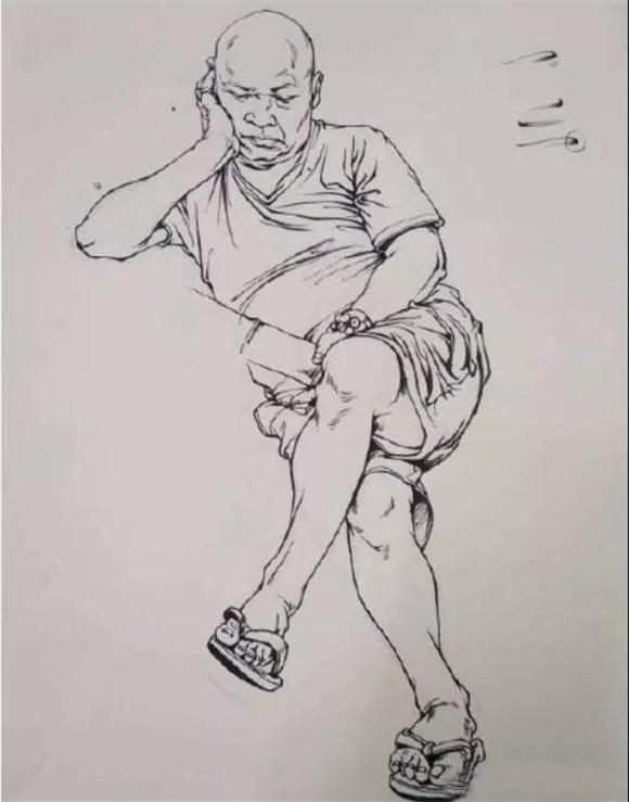 一、头手脚刻画 头手脚一直都是速写的核心部分,一般看一幅画的好坏,先看构图比例,然后就是头手脚,所以头手脚画的精彩,你的画一定不会埋没。  二、腿部刻画 除了头手脚,腿的部分也是画面的加分项,所以今天讲解一下腿部的画法,首先要注意不是画裤子,而是在画腿的内部结构。  三、牛仔裤 在画穿牛仔裤的时候你就会发现牛仔裤是紧紧贴在腿的形体上的,除了膝盖部分会有一点凸起之外,在画的时候就要把腿当做一个圆柱体来画,注意表现腿的体积感,在膝盖和裤脚的部分适当的画一点皱褶即可。  四、休闲裤 休闲裤相对牛仔裤来说稍微宽