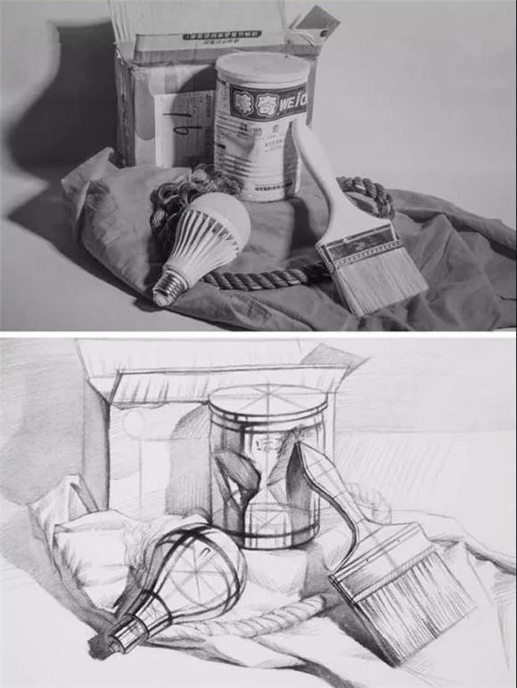 结构素描画起来相对枯燥,但是为什么又是必修课程呢?其实画画无非就是在画结构,透过明暗调子,画面的本质就是结构,一旦掌握好了静物(人体)的结构,那么画调子的时候也就得心应手了。  单个静物塑造 首先画出静物的外形、明暗交界线、投影。 强化形体与明暗交界线,铺一遍淡淡的调子。 进步一塑造明暗交界线,找一些亮部与暗部过渡的结构线。 找出亮部的结构线,加深暗部,让整个静物有立体感。  食品类 不同的静物质感也不同,所以在画的时候要区别对待,在画不规则的静物时,结构相对复杂,