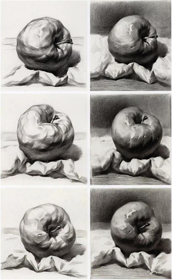 首页 素描教学 正文  步骤四:用纸巾顺着苹果的结构,形体,虚实变化去