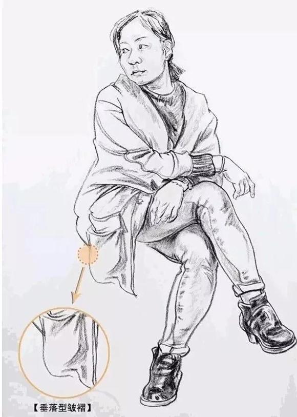 速写人物中,坐姿动态的两膝盖共同顶起的裙摆形成悬垂褶皱,两肩膀之间