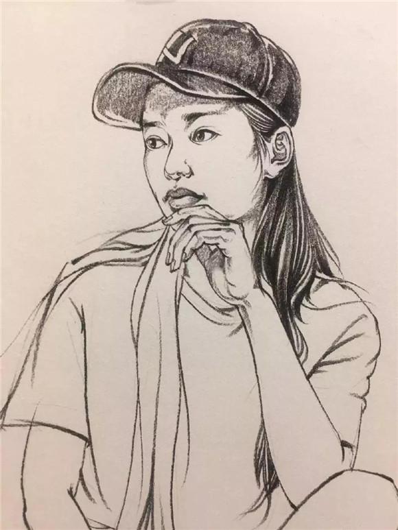 【速写教学】女青年坐姿绘画步骤分解