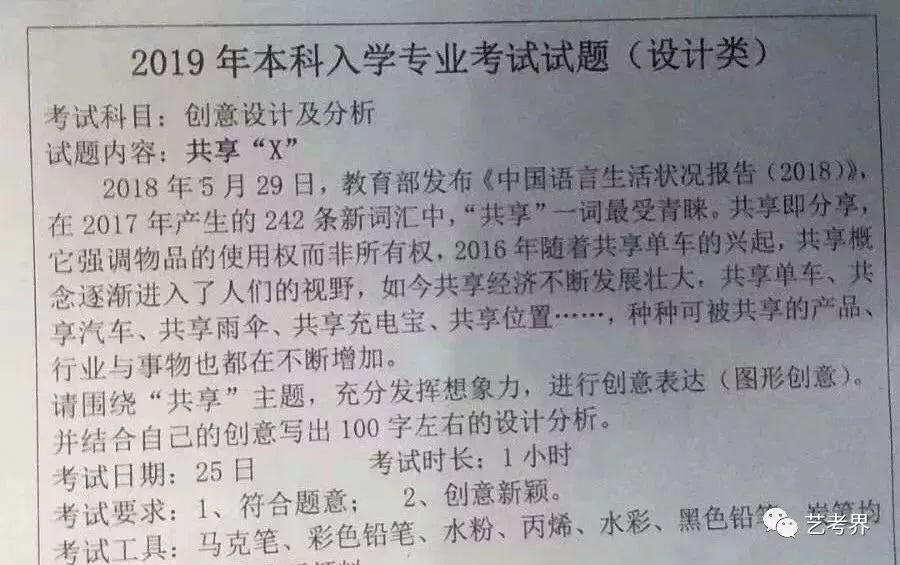 天津美术学院2019年校考考题设计专业考试真题