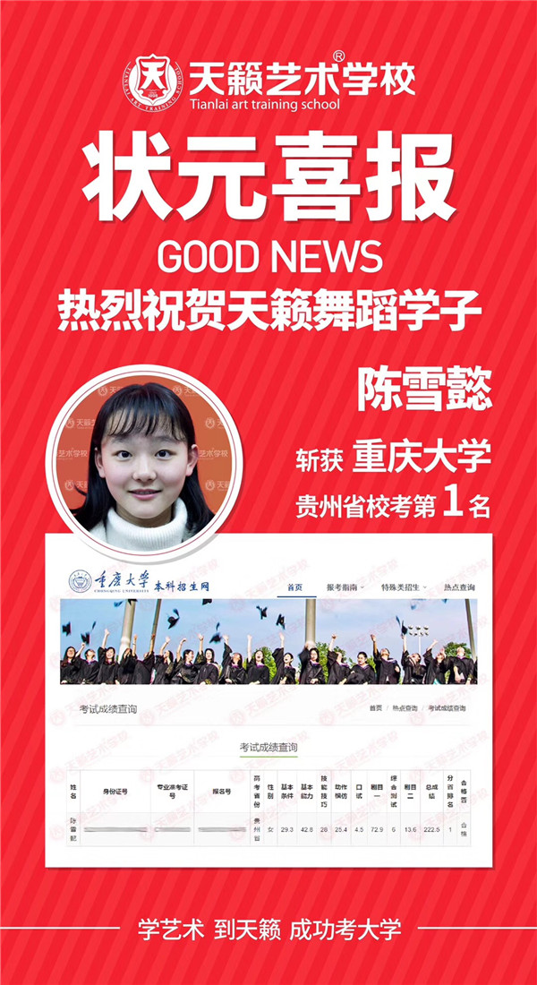 2019天籁艺术学校校考一甲榜(持续更新)